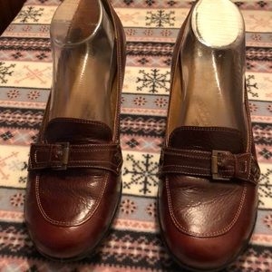 SOFFT Women Brown Leather Buckle Heel Shoes 10 N